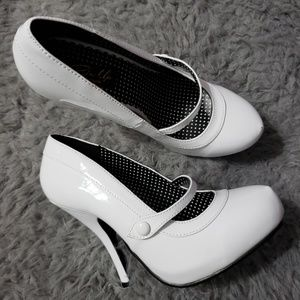 White Patent Mary Jane High Heel Shoes Size 7